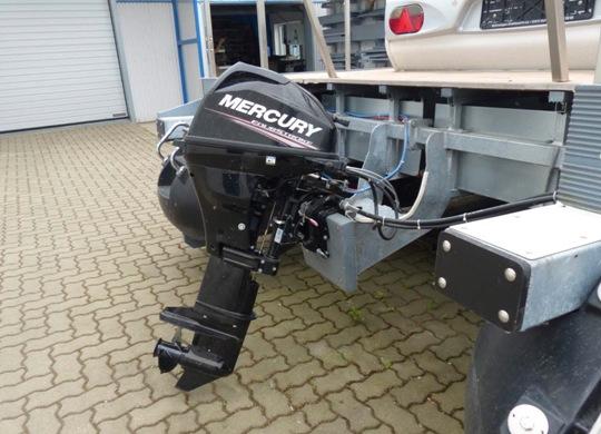 Mercury-Aussenbordmotor - WasserCamper Motorkatamaran Speedy XL 833 mit Sterckeman Wohnwagen Starlett 370