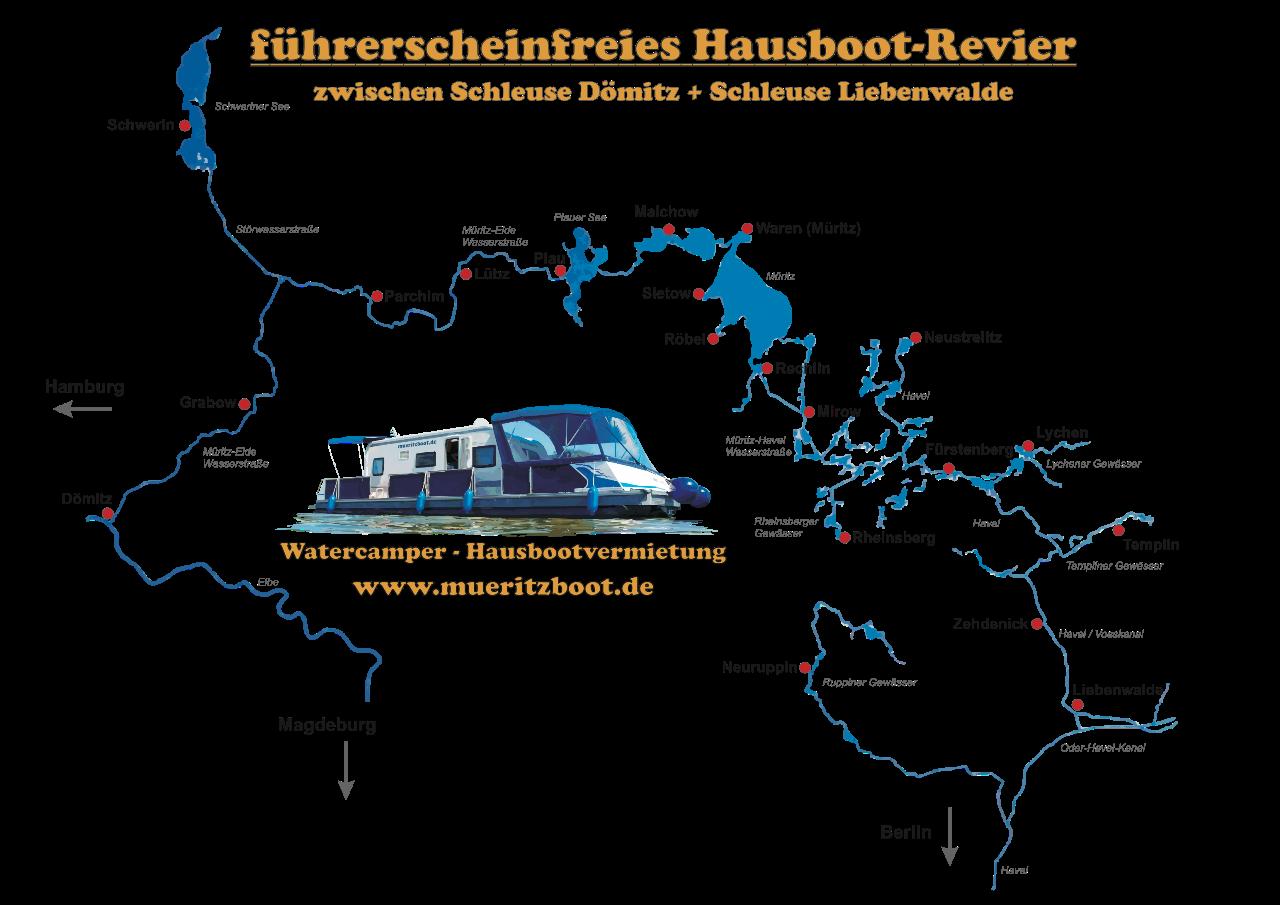 Das führerscheinfreie Hausboot-Revier zwischen Schleuse Dömitz an der Elbe und Schleuse Liebenwalde kurz vor Oranienburg/Berlin.