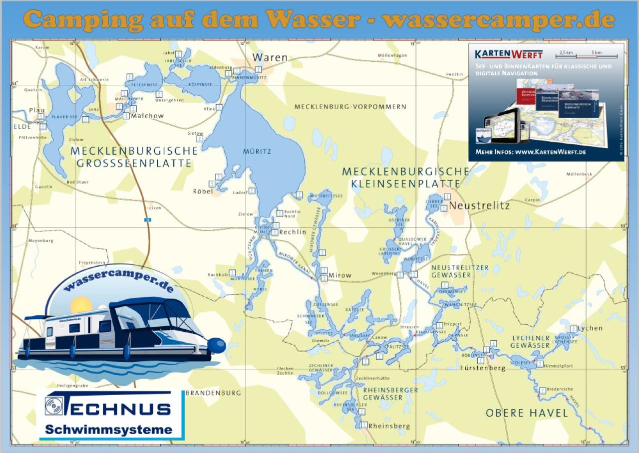 Karte der Mecklenburger Seenplatte - mit freundlicher Genehmigung von Kartenwerft