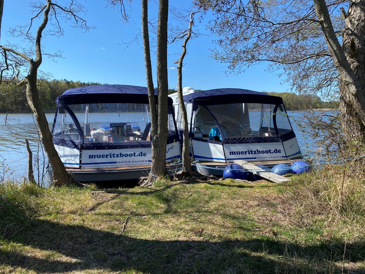 Der WasserCamper für kundeneigene Fahrzeuge mit separater Sonnenterrasse auf der Müritz