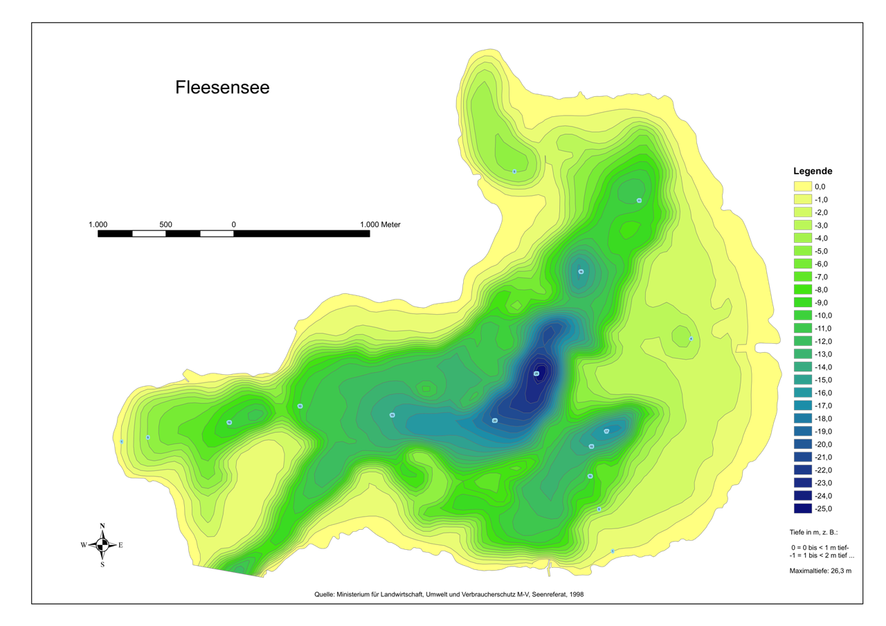 Isobathen-Karten des Fleesensee.